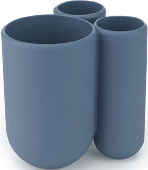 Стакан для зубных щеток Umbra Touch, цвет: дымчато-синий, 8 х 10 х 10 см023271-755Удобная подставка для зубных щеток с тремя отделениями. Помимо щеток, вмещает также зубную пасту. Изготовлена из приятного на ощупь литого пластика. Дизайн: Alan Wisniewski