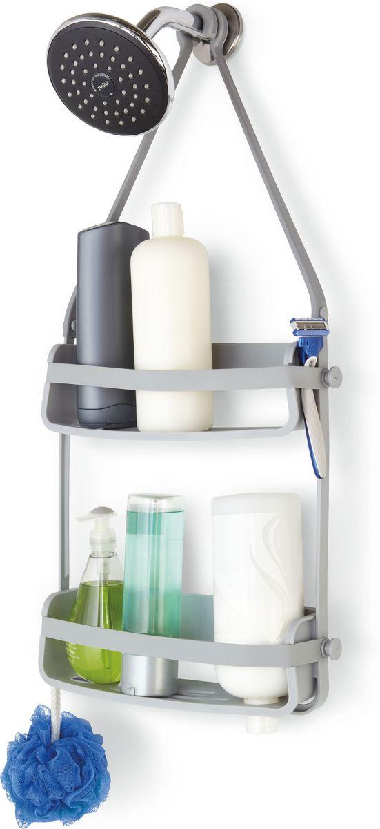 Органайзер для душа Umbra Flex, цвет: серый, 65 х 33 х 10 см023460-918Органайзер Flex был разработан, чтобы вместить максимум вещей на минимальном пространстве. Прочная основа держит вес всех флаконов (до 3,5 кг), а гибкие силиконовые ленты со специальными крючками на концах позволяют повесить органайзер на крепление для душа или штангу для шторки в ванной. На двух полках помещаются даже очень большие флаконы с шампунем. В каждой проделано отверстие, чтобы перевернув пузырек вверх ногами, вы использовали его как диспенсер (что удобно, когда средство заканчивается). Плюс специальное место для мыла, и пространства по краям, чтобы поместить бритву и подвесить мочалку.