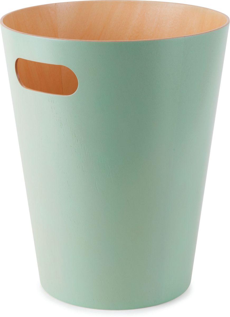 Корзина для мусора Umbra Woodrow, цвет: бирюзовый, 27,9 х 22,9 х 22,9 см082780-473Как много всего ненужного можно обнаружить на столе: скомканные бумаги для заметок, упаковки от шоколадок, старые скрепки и скобы для степлера. Отправьте весь этот хлам в мусорное ведро, чтобы сделать жизнь чище и упорядоченнее. Лаконичный и простой контейнер Woodrow не займет много места и будет прилежно исполнять свои обязанности по накоплению мусора. Красиво сочетает в себе фактуру простого и окрашенного дерева. Вместительность - 9 литров.