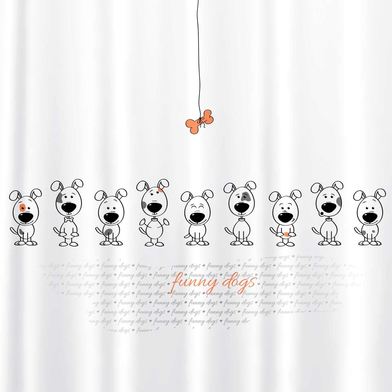 Штора для ванной комнаты Tatkraft Funny Dogs, с кольцами, 180 х 180 см18136Штора для ванной комнаты Tatkraft Funny Dogs выполнена из высококачественного полиэстера с водоотталкивающим и антигрибковым покрытием. Изделие приятно на ощупь, быстро высыхает. В комплекте прилагаются овальные пластиковые кольца. Такая штора прекрасно впишется в любой интерьер ванной комнаты и идеально защитит от брызг. Можно стирать в стиральной машине при температуре 40°С. Количество колец: 12 шт.