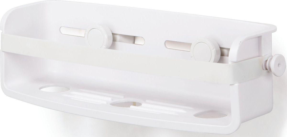 Полочка для душа Umbra Flex, цвет: белый, 8,9 х 33 х 11,4 см1004001-660Дополнительное место для хранения в душе не бывает лишим. Особенно, если это место будет всегда перед глазами. Компактная полочка для душа Flex, куда поместится всё самое необходимое: мыло, бутылочки с гелем для душа и шампунем и мочалка, крепится к стене на две специально разработанные присоски с запатентованной технологией Gel-Lock™. Крепления прочно удерживаются на плитке, стекле и других гладких поверхностях. В полочке предусмотрено отверстие, чтобы перевернув пузырек вверх ногами, вы использовали его как диспенсер. Благодаря эластичным перемычкам удержит даже самые большие бутылки с гелями и шампунями. Отверстия в полочке не дадут воде застаиваться. Дизайнер Umbra Studio