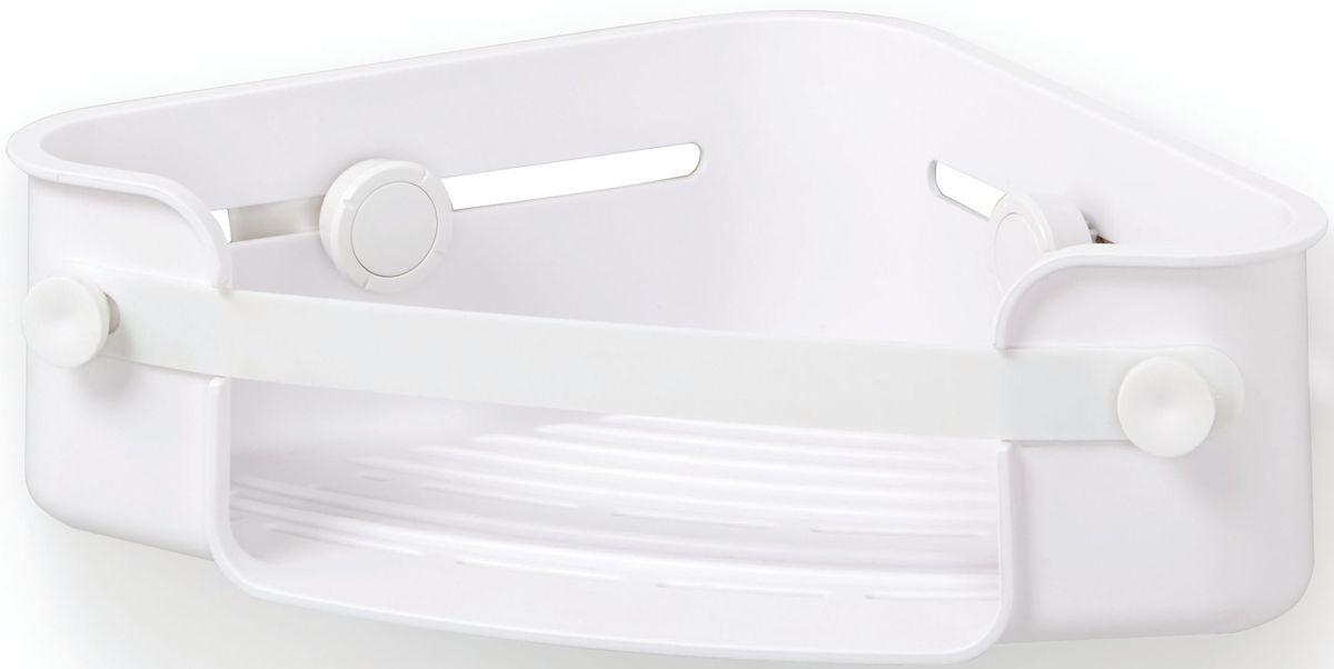 Полочка для душа Umbra Flex, угловая, цвет: белый, 8,3 х 30,5 х 19,1 см1004435-660Дополнительное место для хранения в душе не бывает лишим. Особенно, если это место будет всегда перед глазами. На компактную угловую полочку для душа Flex поместится всё самое необходимое: мыло, бутылочки с гелем для душа и шампунем и мочалка, крепится к стене на две специально разработанные присоски с запатентованной технологией Gel-Lock™. Крепления прочно удерживаются на плитке, стекле и других гладких поверхностях. В полочке предусмотрено отверстие, чтобы перевернув пузырек с шампунем вверх ногами, вы использовали его как диспенсер. Благодаря эластичным перемычкам удержит даже самые большие бутылки с гелями и шампунями. Отверстия в полочке не дадут воде застаиваться. Дизайнер Umbra Studio