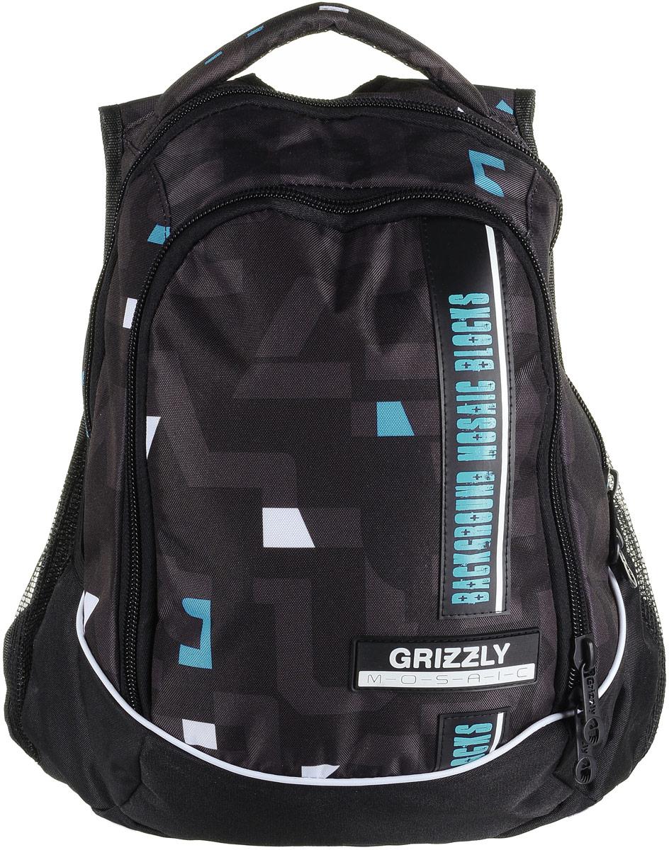 Рюкзак мужской Grizzly, цвет: черный, бирюзовый, белый. RU-707-5/1RU-707-5/1Рюкзак Grizzly - это красивый и удобный рюкзак, который подойдет всем, кто хочет разнообразить свои будни. Рюкзак выполнен из плотного материала с оригинальным графическим принтом. Рюкзак содержит два вместительных отделения, каждое из которых закрывается на молнию. Внутри первого отделения имеется накладной карман на застежке-молнии. Второе отделение содержит два открытых накладных кармана и три кармашка под канцелярские принадлежности. Снаружи, по бокам изделия, расположены два открытых накладных сетчатых кармана. Рюкзак оснащен мягкой ручкой для переноски и двумя практичными лямками регулируемой длины. Практичный рюкзак станет незаменимым аксессуаром и вместит в себя все необходимое.