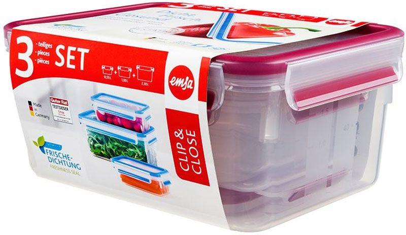 Набор контейнеров Emsa Clip&Close, цвет: малиновый, 3 предмета515584