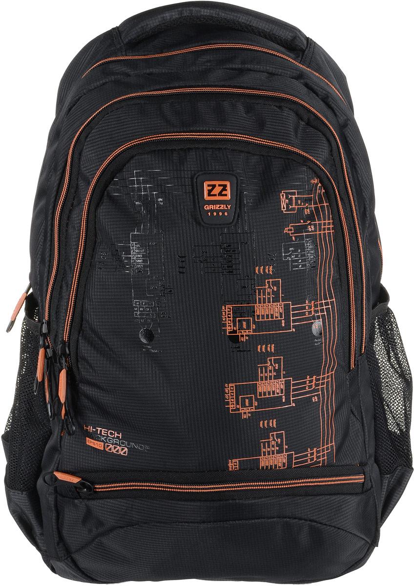 Рюкзак мужской Grizzly, цвет: темно-серый, оранжевый. RU-722-2/2261/1_FРюкзак Grizzly - это красивый и удобный рюкзак, который подойдет всем, кто хочет разнообразить свои будни. Рюкзак выполнен из плотного материала с оригинальным принтом. Рюкзак содержит три вместительных отделения, каждое из которых закрывается на молнию. Внутри первого отделения имеется открытый накладной карман, на стенке которого расположился врезной карман на молнии. Второе отделение не содержит дополнительных карманов. Внутри третьего отделения расположены четыре открытых накладных кармашка. Снаружи, по бокам изделия, расположены два открытых сетчатых кармана. Лицевая сторона снизу дополнена карманом на застежке-молнии. Рюкзак оснащен мягкой укрепленной ручкой для переноски, петлей для подвешивания и двумя практичными лямками регулируемой длины. У лямок имеется нагрудная стяжка-фиксатор.Практичный рюкзак станет незаменимым аксессуаром и вместит в себя все необходимое.