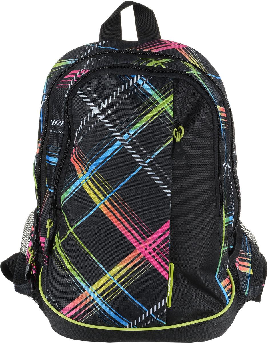 Рюкзак мужской Grizzly, цвет: черный, красный, синий. RU-707-6/1D-261/4Рюкзак Grizzly - это красивый и удобный рюкзак, который подойдет всем, кто хочет разнообразить свои будни. Рюкзак выполнен из плотного материала с оригинальным графическим принтом. Рюкзак содержит два вместительных отделения, каждое из которых закрывается на молнию. Внутри первого отделения имеется подвесной кармашек на молнии. Второе отделение содержит три открытых накладных кармана и три кармашка под канцелярские принадлежности. Снаружи, по бокам изделия, расположены два открытых накладных кармана. Лицевая сторона дополнена вместительным карманом на застежке-молнии. Рюкзак оснащен петлей для переноски или подвешивания и двумя практичными лямками регулируемой длины.Практичный рюкзак станет незаменимым аксессуаром и вместит в себя все необходимое.