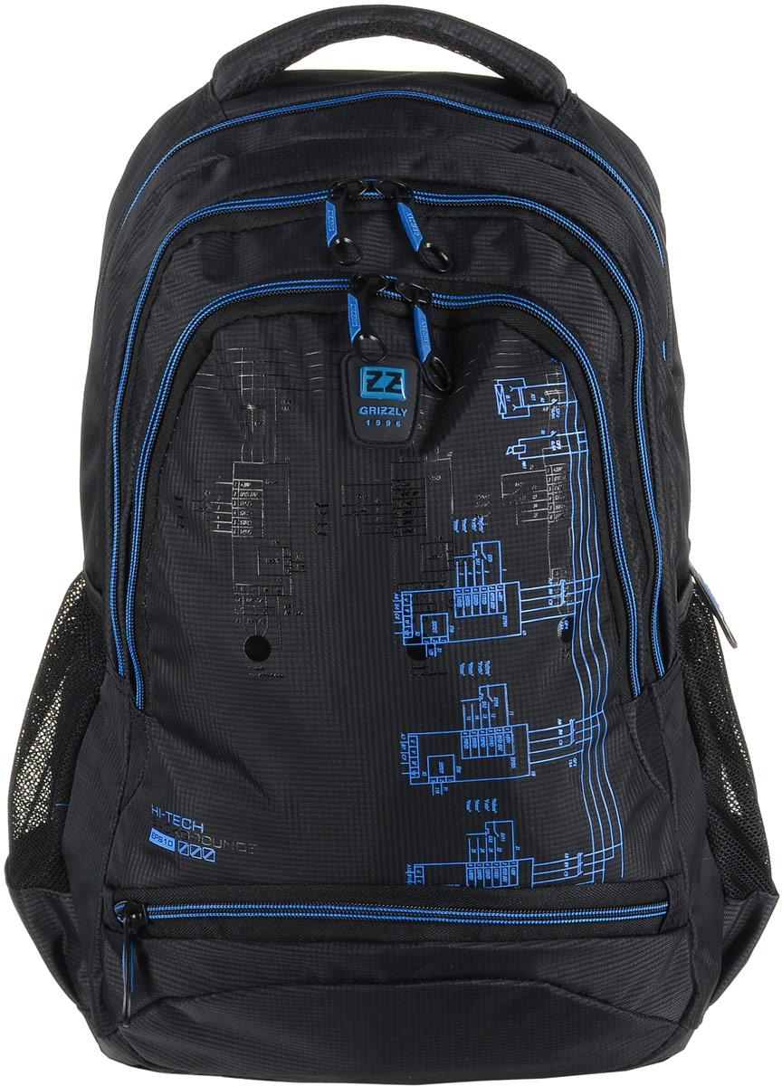 Рюкзак мужской Grizzly, цвет: темно-серый, синий. RU-722-2/3ЛЦ0046Рюкзак Grizzly - это красивый и удобный рюкзак, который подойдет всем, кто хочет разнообразить свои будни. Рюкзак выполнен из плотного материала с оригинальным принтом. Рюкзак содержит три вместительных отделения, каждое из которых закрывается на молнию. Внутри первого отделения имеется открытый накладной карман, на стенке которого расположился врезной карман на молнии. Второе отделение не содержит дополнительных карманов. Внутри третьего отделения расположены четыре открытых накладных кармашка. Снаружи, по бокам изделия, расположены два открытых сетчатых кармана. Лицевая сторона снизу дополнена карманом на застежке-молнии. Рюкзак оснащен мягкой укрепленной ручкой для переноски, петлей для подвешивания и двумя практичными лямками регулируемой длины. У лямок имеется нагрудная стяжка-фиксатор.Практичный рюкзак станет незаменимым аксессуаром и вместит в себя все необходимое.