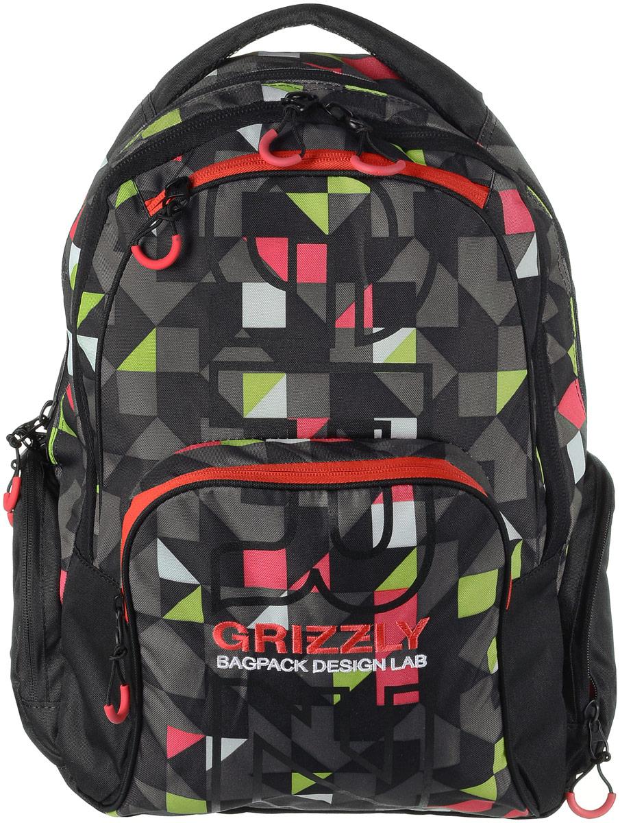 Рюкзак мужской Grizzly, цвет: черный, красный, серый. RU-709-2/3H009Рюкзак Grizzly - это красивый и удобный рюкзак, который подойдет всем, кто хочет разнообразить свои будни. Рюкзак выполнен из плотного материала с оригинальным графическим принтом. Рюкзак содержит два вместительных отделения, каждое из которых закрывается на молнию. Внутри первого отделения имеется открытый накладной карман, на стенке которого расположился врезной карман на молнии. Второе отделение не содержит дополнительных карманов. Снаружи, по бокам изделия, расположены два кармана на застежках-молниях. Лицевая сторона дополнена двумя карманами на застежках-молниях. В нижнем кармане расположены четыре открытых накладных кармашка.Рюкзак оснащен мягкой укрепленной ручкой для переноски, петлей для подвешивания и двумя практичными лямками регулируемой длины.Практичный рюкзак станет незаменимым аксессуаром и вместит в себя все необходимое.