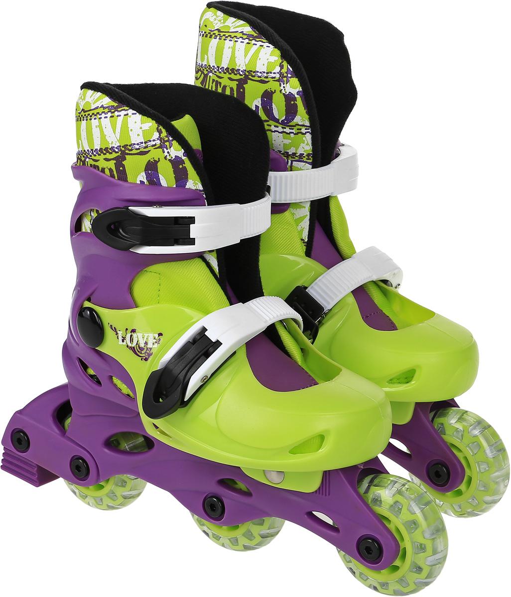 """Коньки роликовые Action """"PW-127"""", раздвижные, цвет: фиолетовый, светло-зеленый, белый. Размер 31/34"""
