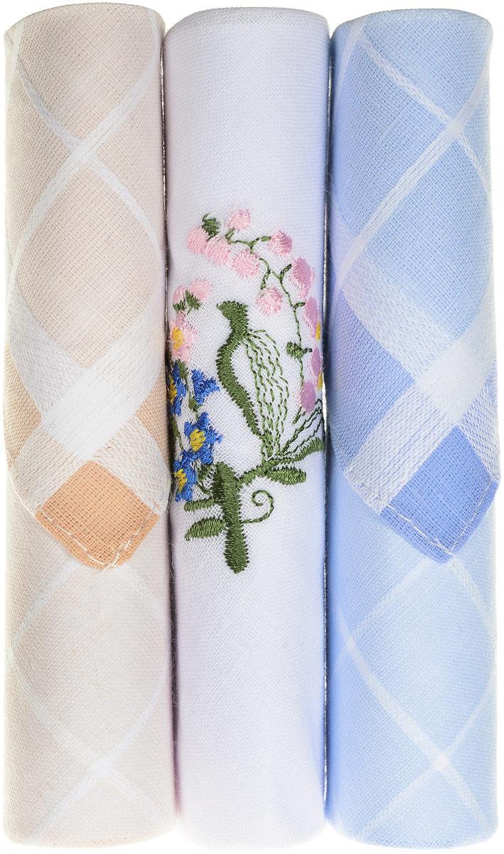 Платок носовой женский Zlata Korunka, цвет: бежевый, белый, голубой, 3 шт. 40423-123. Размер 28 см х 28 смСерьги с подвескамиНебольшой женский носовой платок Zlata Korunka изготовлен из высококачественного натурального хлопка, благодаря чему приятен в использовании, хорошо стирается, не садится и отлично впитывает влагу. Практичный и изящный носовой платок будет незаменим в повседневной жизни любого современного человека. Такой платок послужит стильным аксессуаром и подчеркнет ваше превосходное чувство вкуса.В комплекте 3 платка.
