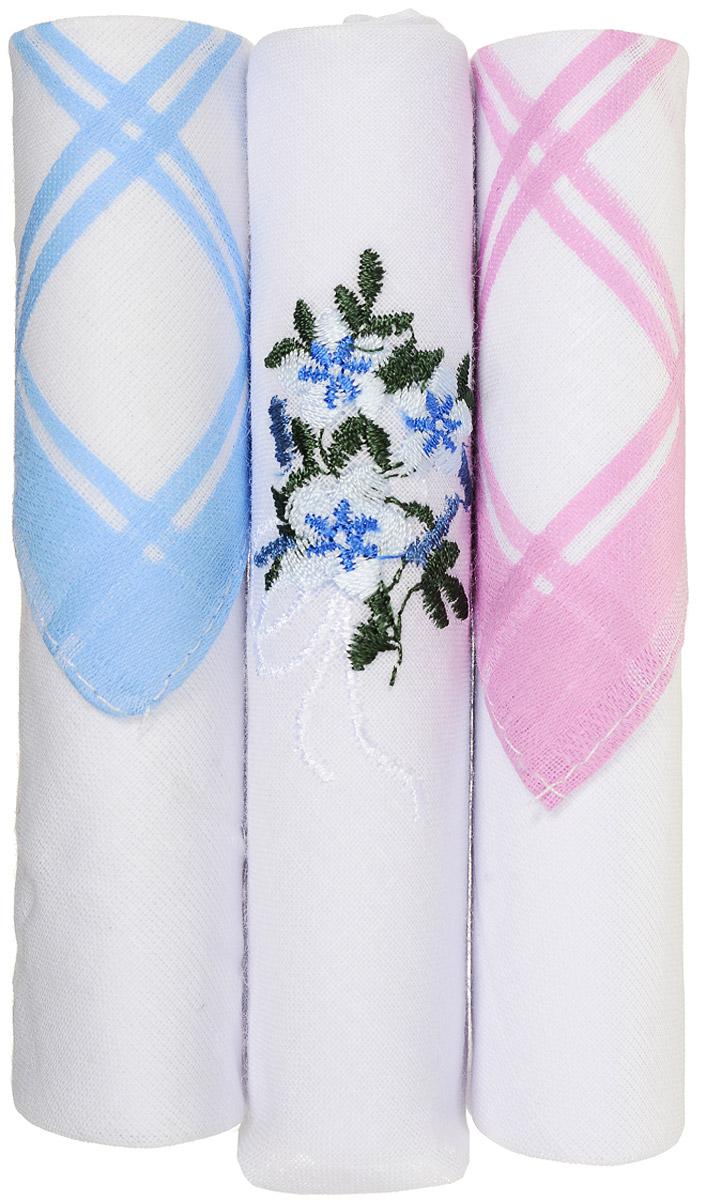 Платок носовой женский Zlata Korunka, цвет: белый, голубой, розовый, 3 шт. 40423-10. Размер 28 см х 28 смСерьги с подвескамиНебольшой женский носовой платок Zlata Korunka изготовлен из высококачественного натурального хлопка, благодаря чему приятен в использовании, хорошо стирается, не садится и отлично впитывает влагу. Практичный и изящный носовой платок будет незаменим в повседневной жизни любого современного человека. Такой платок послужит стильным аксессуаром и подчеркнет ваше превосходное чувство вкуса.В комплекте 3 платка.