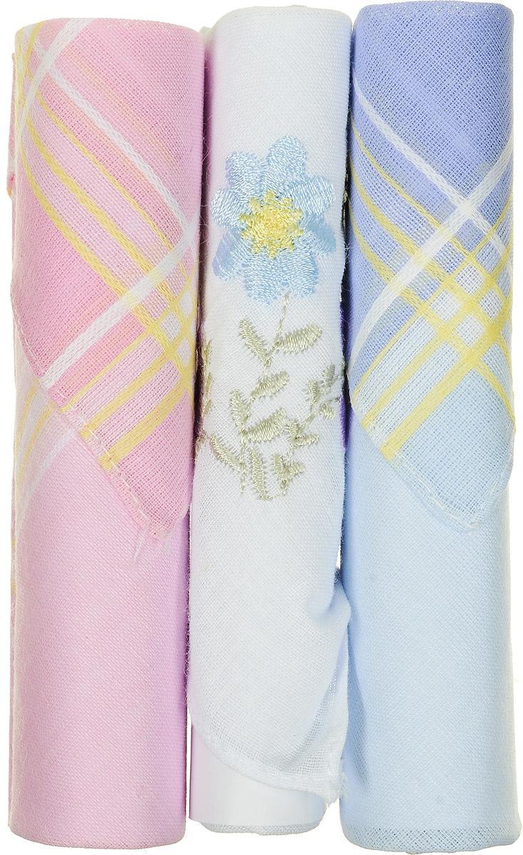 Платок носовой женский Zlata Korunka, цвет: голубой, белый, розовый, 3 шт. 40423-46. Размер 28 см х 28 см40423-46Небольшой женский носовой платок Zlata Korunka изготовлен из высококачественного натурального хлопка, благодаря чему приятен в использовании, хорошо стирается, не садится и отлично впитывает влагу. Практичный и изящный носовой платок будет незаменим в повседневной жизни любого современного человека. Такой платок послужит стильным аксессуаром и подчеркнет ваше превосходное чувство вкуса. В комплекте 3 платка.