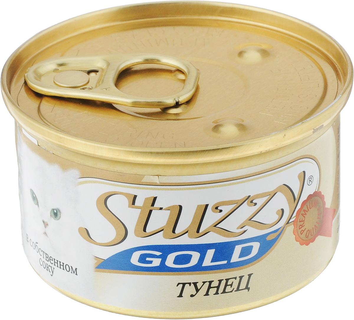 Консервы для кошек Stuzzy Gold, тунец в собственном соку, 85 г0120710Консервы для кошек Stuzzy Gold - это дополнительный рацион для взрослых кошек. Корм обогащен таурином и витамином Е для поддержания правильной работы сердца и иммунной системы. Инулин обеспечивает всасывание питательных веществ, а биотин способствуют великолепному внешнему виду кожи и шерсти. Корм приготовлен на пару, не содержит красителей и консервантов.Товар сертифицирован.