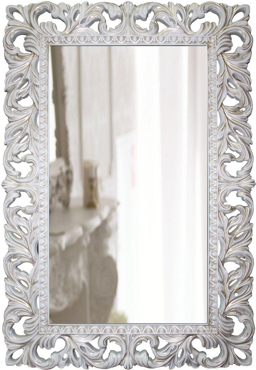 Зеркало VezzoLLi Лиа, цвет: белый, золотая патина, 63 х 95 см282808С обратной стороны зеркало снабжено тремя металлическими подвесами для возможности разместить его и вертикально и горизонтально. Ширина обрамления 12 см. Видимый размер зеркального полотна 72х39 см