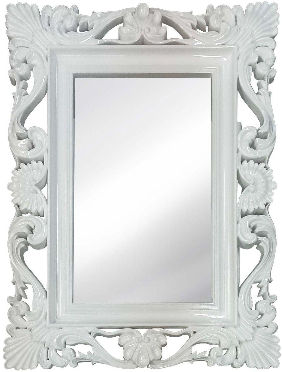 Зеркало VezzoLLi Альберио, цвет: белый, 86 х 114 см22-49С обратной стороны зеркало снабжено тремя металлическими подвесами для возможности разместить его и вертикально и горизонтально. Видимый размер зеркального полотна 74х46 см.