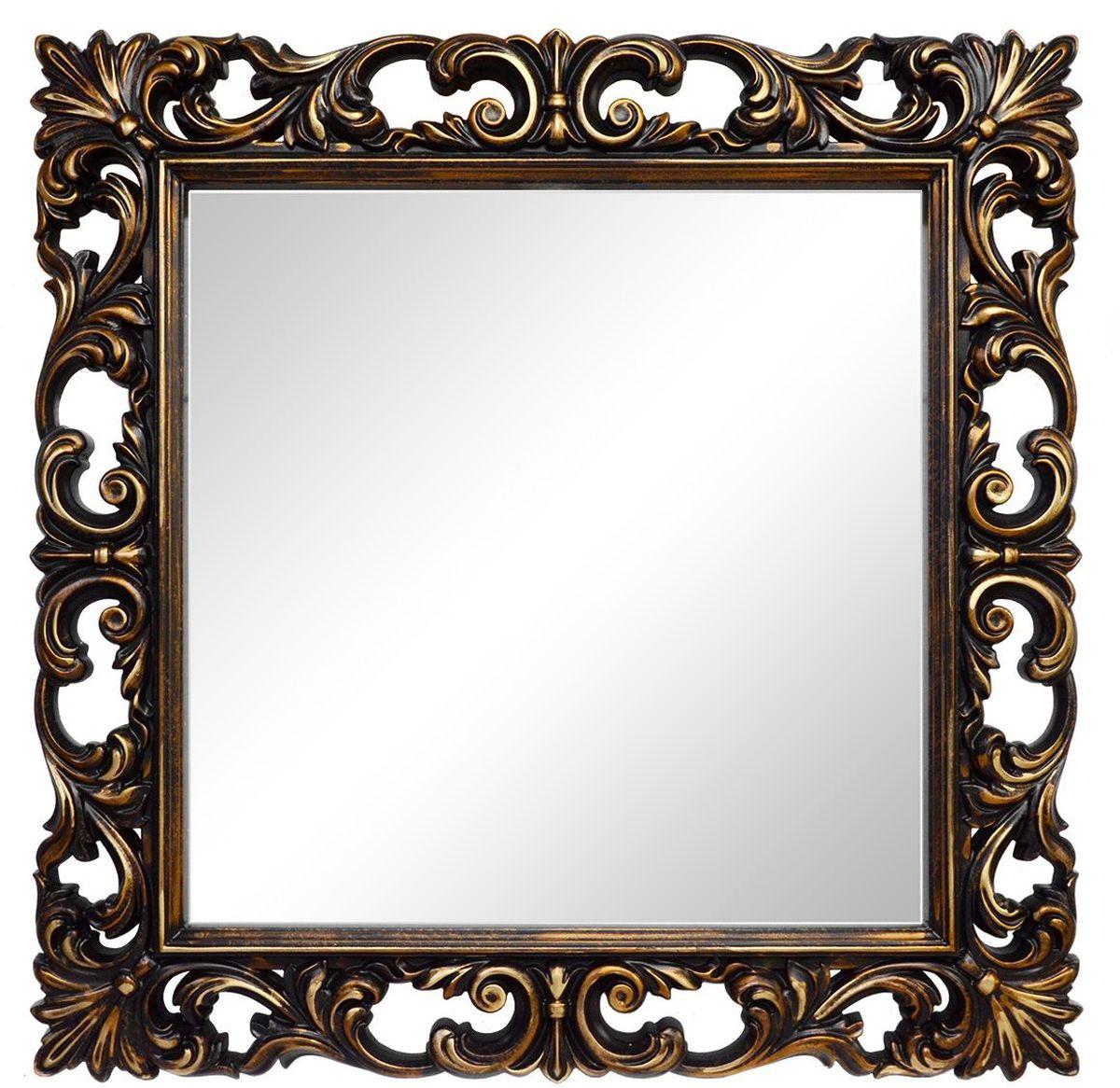 Зеркало VezzoLLi Нованто, цвет: коричневый, 90 х 90 см94672Подвесы в комплекте. Видимый размер зеркала 63х63 см. Ширина обрамления 13,5 см.