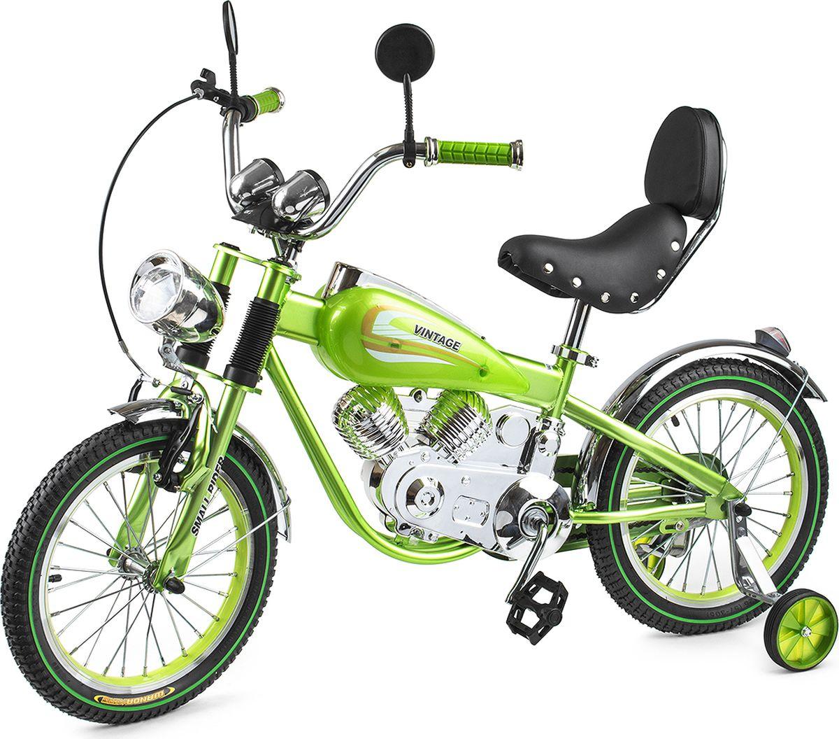 Small Rider Велосипед-мотоцикл детский Motobike Vintage цвет зеленыйMHDR2G/AШикарный и привлекающий взгляды. При первом взгляде на Small Rider Motobike Vintage даже не верится, что это детский велосипед. Он выглядит завораживающе и шикарно. Это,скорее, коллекционный мотоцикл в уменьшенном размере. Все в нем сверкает, блестит и переливается, подчеркивая дороговизну каждого элемента. Стилизация поражает правдоподобностью - мотор, бензобак, спидометр, амортизаторы, сиденье с клепками, фонарь, зеркальца - все как у настоящего мотоцикла! Обучающий детский велосипед. Несмотря на свое великолепие, Мотобайк Винтаж имеет традиционный функционал детского велосипеда и легко приводится в движение с помощью педалей. Очень важно - в комплекте идут поддерживающие колесики, которые помогут ребенку привыкнут к велосипеду и научиться одновременно рулить и крутить педали. Он подойдет детям уже с 4-х лет. Так что, Small Rider Motobike Vintage - отличный вариант, чтобы научиться кататься на велосипеде, причем сделать это с шиком, вызвав удивление и белую зависть в парке или на детской площадке! Безопасность и удобство. За безопасность, опять-таки, отвечают дополнительные съемные боковые колесики, а также два тормоза: ручной и ножной. Повышенный комфорт. Помимо эстетического удовольствия от взгляда на велосипед и обладания им, Мотобайк Винтаж еще и комфортно водить. Надувные резиновые колеса 16-радиуса на спицах бесшумно и плавно катятся, комфортное большое мягкое сиденье имеет еще и спинку! Высота сиденья может регулироваться под рост Вашего ребенка. Катание в удовольствие. В отличие от традиционных (скучных) двухколесных велосипедов катание на Small Rider Motobike Vintage добавит новую искорку, превратит езду в игру в байкеров или путешествие по хайвэю.