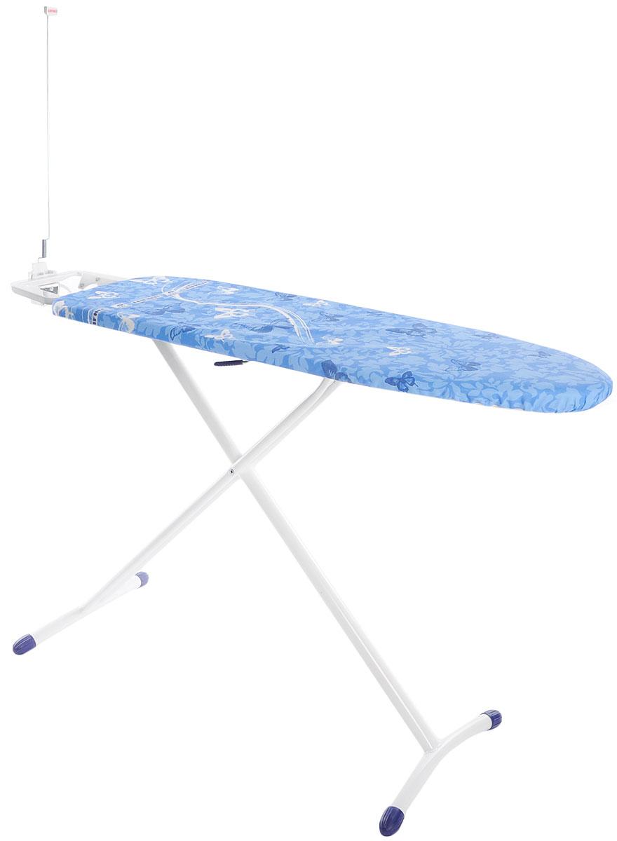 Доска гладильная Leifheit Airboard Premium M Plus, с электроподключением, цвет: синий, белый, голубой, 120 х 38 см72564_синий/бабочкиГладильная доска Leifheit Airboard Premium M Plus станет незаменимой помощницей в глажении белья. Очень существенная особенность - это ее легкий вес, доска на 25% легче аналогичных досок благодаря гладильной поверхности из вспененного пластика. Поверхность Thermoreflect позволяет гладить на 33% быстрее. Благодаря отражающей поверхности белье гладится сразу с двух сторон. Доска имеет фиксированную подставку для утюга с электроподключением и держателем для кабеля. На ножках имеются пластиковые накладки, не царапающие пол, а также система выравнивания пола - для перепада высоты до 1 см. Новый механизм регулировки высоты, обеспечивающий большую безопасность и устойчивость. Размер рабочей поверхности: 120 х 38 см. Регулировка по высоте: 75-98 см.
