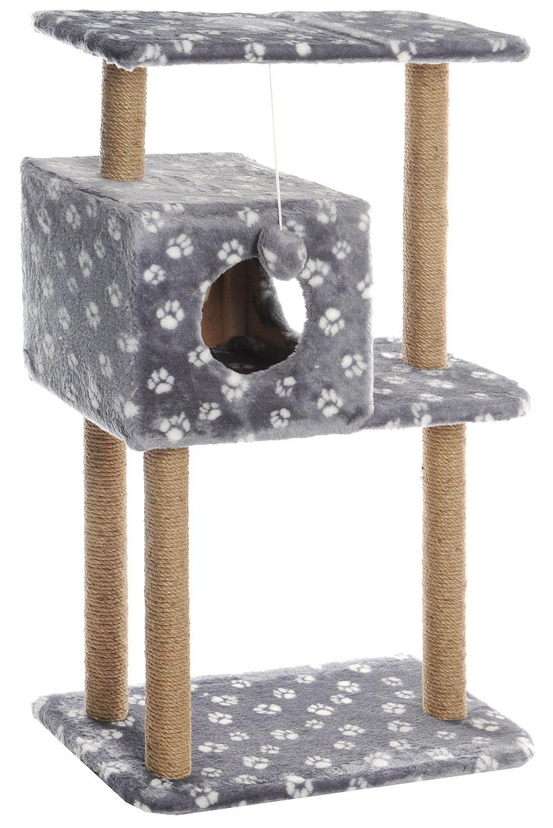 Домик-когтеточка Меридиан, квадратный, трехэтажный, с полкой, цвет: серый, белый, бежевый, 65 х 36 х 105 смД134_серый, белый лапкиДомик-когтеточка Меридиан выполнен из высококачественного ДВП и ДСП и обтянут искусственным мехом. Изделие предназначено для кошек. Комплекс имеет 3 яруса. Ваш домашний питомец будет с удовольствием точить когти о специальные столбики, изготовленные из джута. А отдохнуть он сможет либо на полках, либо в расположенном вверху домике. Изделие снабжено подвесной игрушкой. Домик-когтеточка Меридиан принесет пользу не только вашему питомцу, но и вам, так как он сохранит мебель от когтей и шерсти. Общий размер: 65 х 36 х 105 см. Размер домика: 36 х 35 х 32 см. Размер верхней полки: 65 х 31 см.
