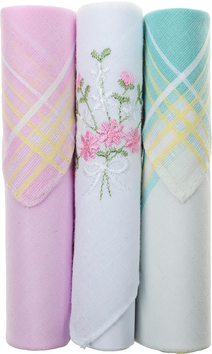 Платок носовой женский Zlata Korunka, цвет: розовый, белый, бирюзовый, 3 шт. 40423-65. Размер 28 см х 28 см40423-65Небольшой женский носовой платок Zlata Korunka изготовлен из высококачественного натурального хлопка, благодаря чему приятен в использовании, хорошо стирается, не садится и отлично впитывает влагу. Практичный и изящный носовой платок будет незаменим в повседневной жизни любого современного человека. Такой платок послужит стильным аксессуаром и подчеркнет ваше превосходное чувство вкуса. В комплекте 3 платка.