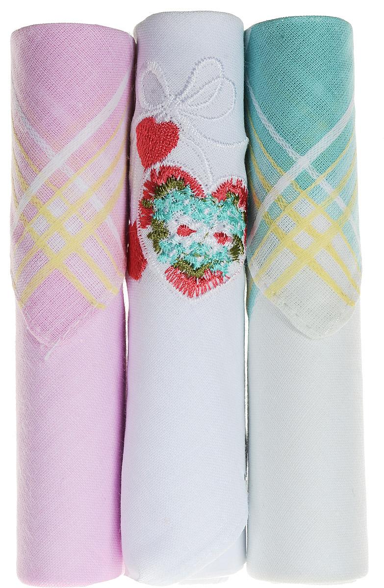 Платок носовой женский Zlata Korunka, цвет: розовый, белый, бирюзовый, 3 шт. 40423-3. Размер 28 см х 28 см40423-3Небольшой женский носовой платок Zlata Korunka изготовлен из высококачественного натурального хлопка, благодаря чему приятен в использовании, хорошо стирается, не садится и отлично впитывает влагу. Практичный и изящный носовой платок будет незаменим в повседневной жизни любого современного человека. Такой платок послужит стильным аксессуаром и подчеркнет ваше превосходное чувство вкуса. В комплекте 3 платка.