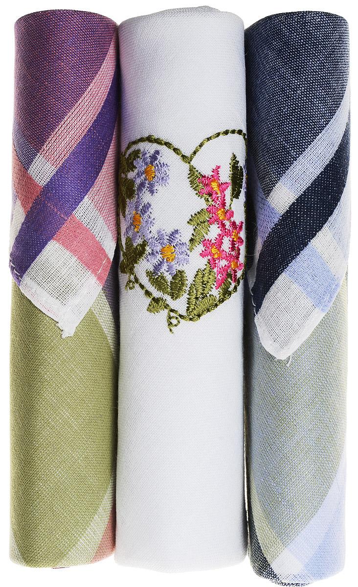 Платок носовой женский Zlata Korunka, цвет: фиолетовый, белый, зеленый, 3 шт. 40423-57. Размер 28 см х 28 см39864|Серьги с подвескамиНебольшой женский носовой платок Zlata Korunka изготовлен из высококачественного натурального хлопка, благодаря чему приятен в использовании, хорошо стирается, не садится и отлично впитывает влагу. Практичный и изящный носовой платок будет незаменим в повседневной жизни любого современного человека. Такой платок послужит стильным аксессуаром и подчеркнет ваше превосходное чувство вкуса.В комплекте 3 платка.