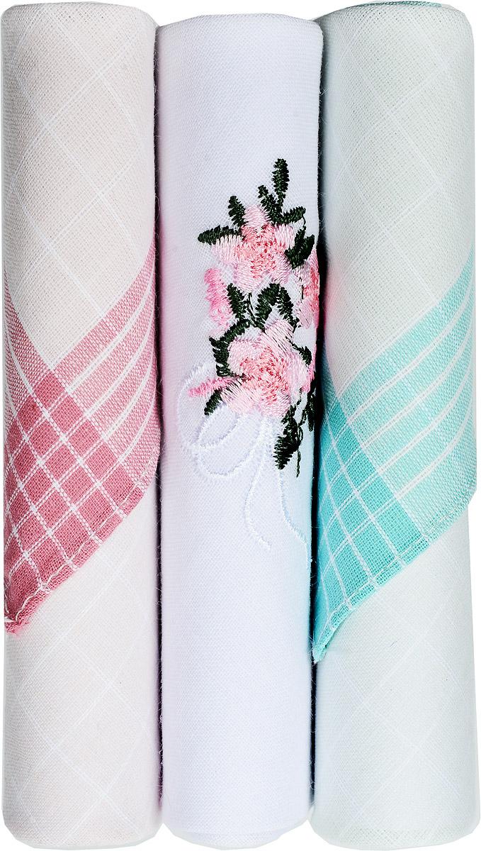 Платок носовой женский Zlata Korunka, цвет: розовый, белый, бирюзовый, 3 шт. 40423-28. Размер 28 см х 28 см40423-28Небольшой женский носовой платок Zlata Korunka изготовлен из высококачественного натурального хлопка, благодаря чему приятен в использовании, хорошо стирается, не садится и отлично впитывает влагу. Практичный и изящный носовой платок будет незаменим в повседневной жизни любого современного человека. Такой платок послужит стильным аксессуаром и подчеркнет ваше превосходное чувство вкуса. В комплекте 3 платка.