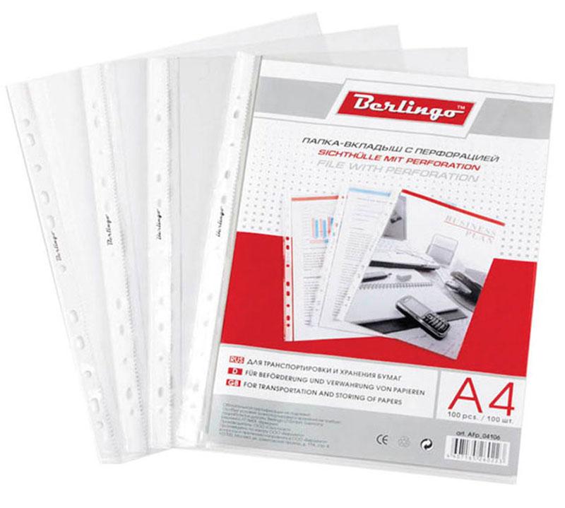 Berlingo Файл-вкладыш с перфорацией матовая формат А4 20 штAFp_14106Файл-вкладыш Berlingo формата А4 с универсальной перфорацией с матовой поверхностью, идеально подходит для подшивки бумаг в архивные папки без перфорирования дыроколом, и просто для хранения различных документов. В наборе 20 штук файлов-вкладышей. Каждый файл изготовлен из высококачественного пластика в прозрачном цвете и имеют логотип на боковой ленте. Вместимость - до 60 листов бумаги 80 г/м2. С файлами-вкладышами все ваши документы будут всегда в безопасности.