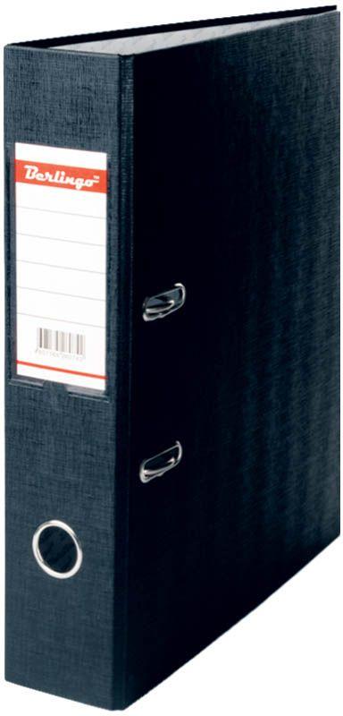 Berlingo Папка-регистратор цвет черный AM451013089Папка-регистратор Berlingo выполнена в черном цвете. Обложка папки изготовлена из жесткого износостойкого картона с односторонним покрытием из бумвинила. Конструкция разработана с учетом всех особенностей эксплуатации. Выгодно отличаются надежным арочным механизмом из качественного металла, наличием кармана на корешке со сменным информационным ярлыком для маркировки, полем для записей на внутренней стороне обложки, отверстием для удобного снятия папки с полки.