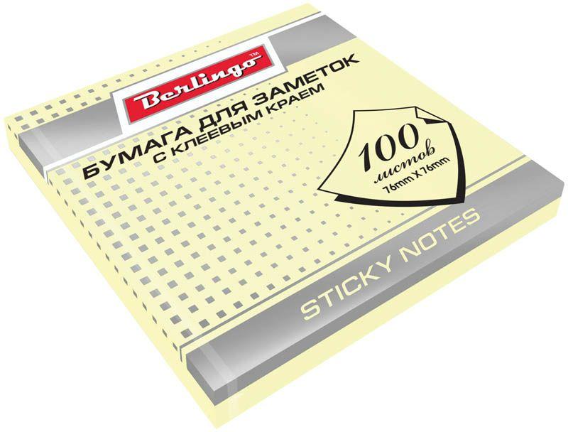 Berlingo Бумага для заметок с липким краем 7,6 х 7,6 см цвет желтый 100 листов2010440Бумага для заметок с липким краем Berlingo - это удобное и практичное решение для быстрой записи информации дома или на работе.Блок бумаги с клеевым краем рассчитанный на крепление к любой поверхности, не оставляет следов. Блок имеет спокойный пастельный желтый цвет. Размер блока - 76 х 76 мм. В блоке 100 листов.
