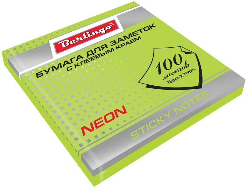Berlingo Бумага для заметок с липким краем 7,6 х 7,6 см цвет зеленый неон 100 листовHN7676GNБумага для заметок с липким краем Berlingo - это удобное и практическое решение для быстрой записи информации дома или на работе. Блок бумаги с клеевым краем рассчитанный на крепление к любой поверхности, не оставляет следов. Блок имеет яркий зеленый неоновый цвет. Размер блока - 76 х 76 мм. В блоке 100 листов.