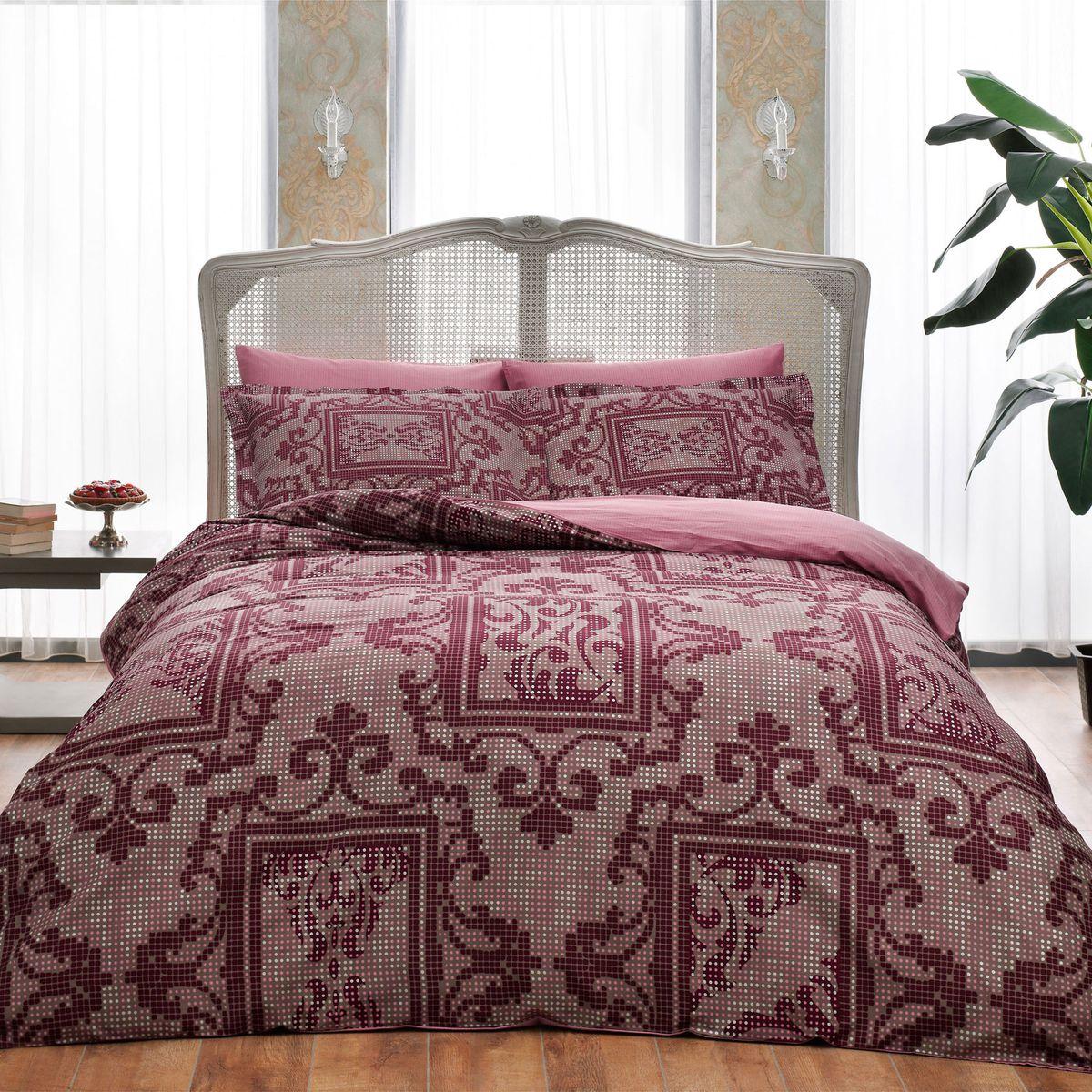 Комплект белья TAC Grant Bordo, 2-спальный, наволочки 50х70 смS03301004Показатель должного внимания. Выбирая Satin Delux, Вы выбираете престиж. Эксклюзивность и непревзойденность в деталях пошива и дизайне.Сатин – гладкая и прочная ткань, которая своим блеском, легкостью и гладкостью похожа на шелк, но выгодно отличается от него в цене. Сатин практически не мнется, поэтому его можно не гладить. Ко всему прочему, он весьма практичен, т.к. хорошо переносит множественные стирки. Если Вы ценитель эстетики и практичности одновременно, безусловно, сатин для Вас!
