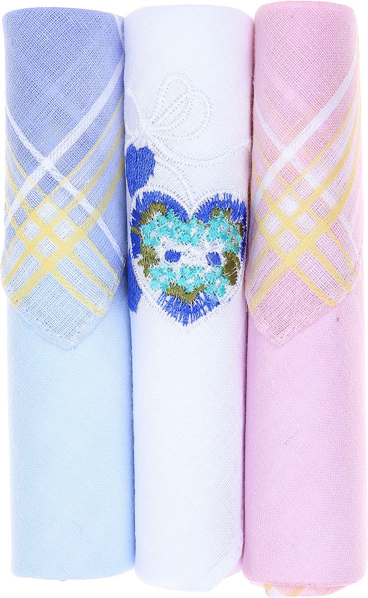Платок носовой женский Zlata Korunka, цвет: голубой, белый, розовый, 3 шт. 40423-2. Размер 28 см х 28 смСерьги с подвескамиНебольшой женский носовой платок Zlata Korunka изготовлен из высококачественного натурального хлопка, благодаря чему приятен в использовании, хорошо стирается, не садится и отлично впитывает влагу. Практичный и изящный носовой платок будет незаменим в повседневной жизни любого современного человека. Такой платок послужит стильным аксессуаром и подчеркнет ваше превосходное чувство вкуса.В комплекте 3 платка.