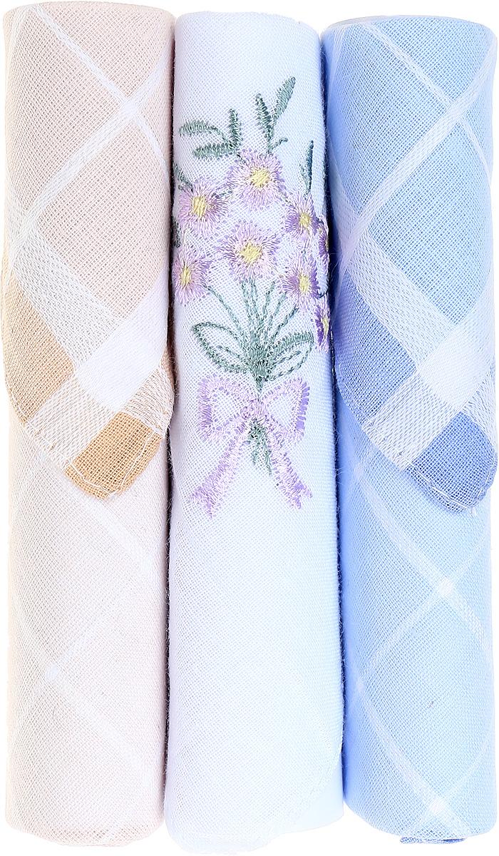 Платок носовой женский Zlata Korunka, цвет: бежевый, белый, голубой, 3 шт. 40423-103. Размер 28 см х 28 см39864|Серьги с подвескамиНебольшой женский носовой платок Zlata Korunka изготовлен из высококачественного натурального хлопка, благодаря чему приятен в использовании, хорошо стирается, не садится и отлично впитывает влагу. Практичный и изящный носовой платок будет незаменим в повседневной жизни любого современного человека. Такой платок послужит стильным аксессуаром и подчеркнет ваше превосходное чувство вкуса.В комплекте 3 платка.