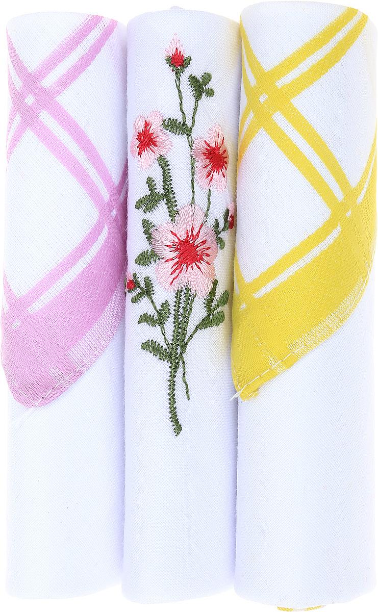Платок носовой женский Zlata Korunka, цвет: розовый, белый, желтый, 3 шт. 40423-67. Размер 28 см х 28 смСерьги с подвескамиНебольшой женский носовой платок Zlata Korunka изготовлен из высококачественного натурального хлопка, благодаря чему приятен в использовании, хорошо стирается, не садится и отлично впитывает влагу. Практичный и изящный носовой платок будет незаменим в повседневной жизни любого современного человека. Такой платок послужит стильным аксессуаром и подчеркнет ваше превосходное чувство вкуса.В комплекте 3 платка.