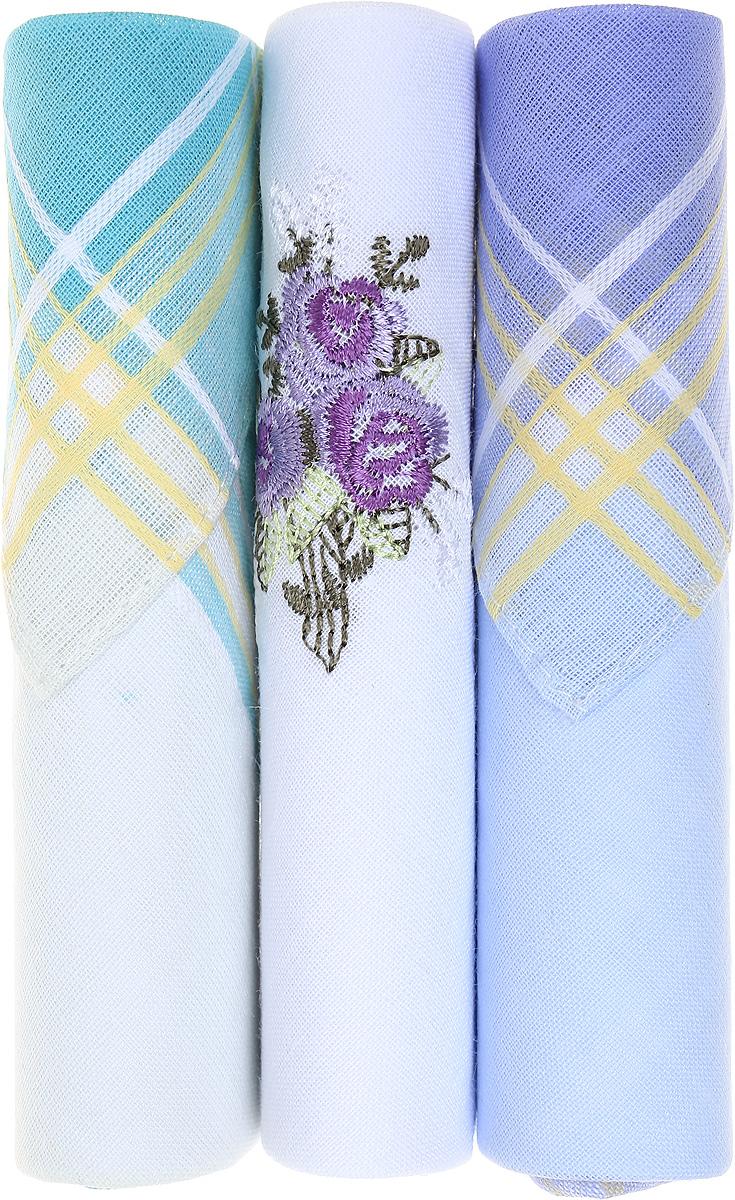 Платок носовой женский Zlata Korunka, цвет: бирюзовый, белый, голубой, 3 шт. 40423-60. Размер 28 см х 28 см40423-60Небольшой женский носовой платок Zlata Korunka изготовлен из высококачественного натурального хлопка, благодаря чему приятен в использовании, хорошо стирается, не садится и отлично впитывает влагу. Практичный и изящный носовой платок будет незаменим в повседневной жизни любого современного человека. Такой платок послужит стильным аксессуаром и подчеркнет ваше превосходное чувство вкуса. В комплекте 3 платка.
