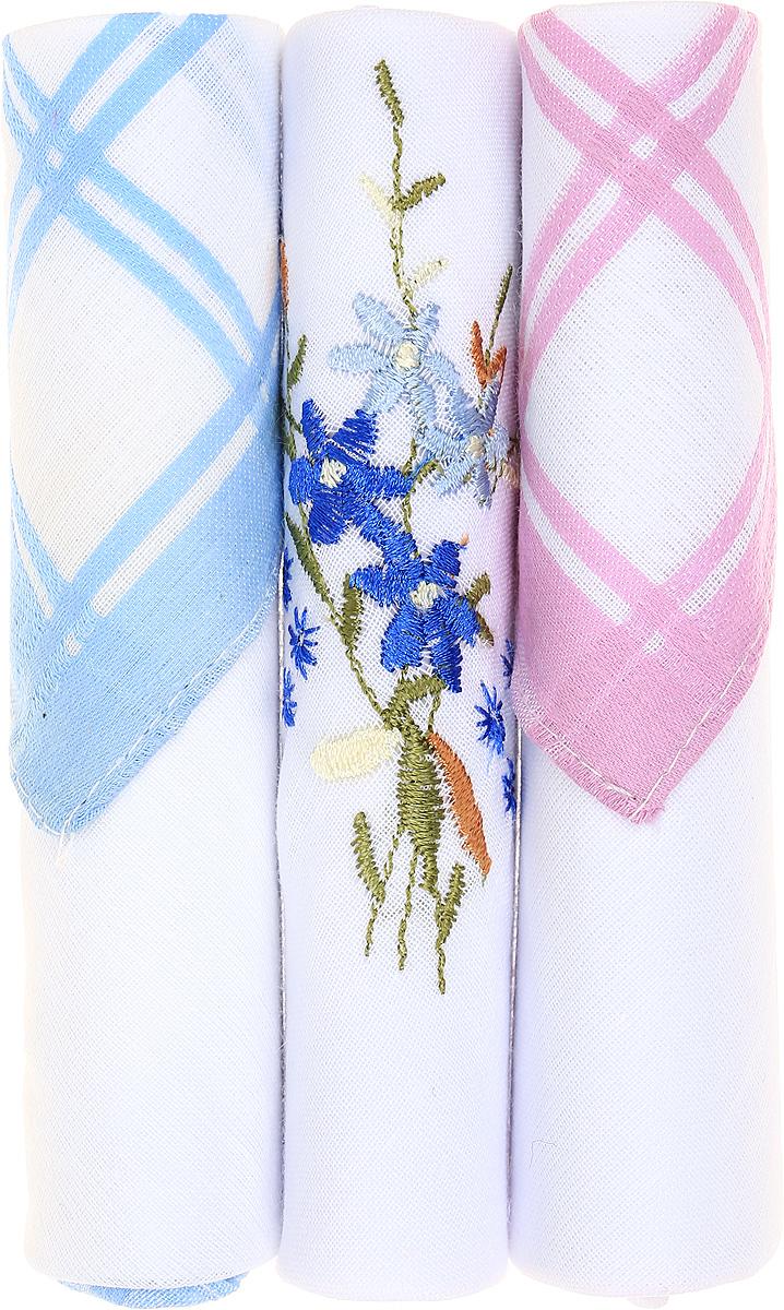 Платок носовой женский Zlata Korunka, цвет: голубой, белый, розовый, 3 шт. 40423-27. Размер 28 см х 28 см39864 Серьги с подвескамиНебольшой женский носовой платок Zlata Korunka изготовлен из высококачественного натурального хлопка, благодаря чему приятен в использовании, хорошо стирается, не садится и отлично впитывает влагу. Практичный и изящный носовой платок будет незаменим в повседневной жизни любого современного человека. Такой платок послужит стильным аксессуаром и подчеркнет ваше превосходное чувство вкуса.В комплекте 3 платка.
