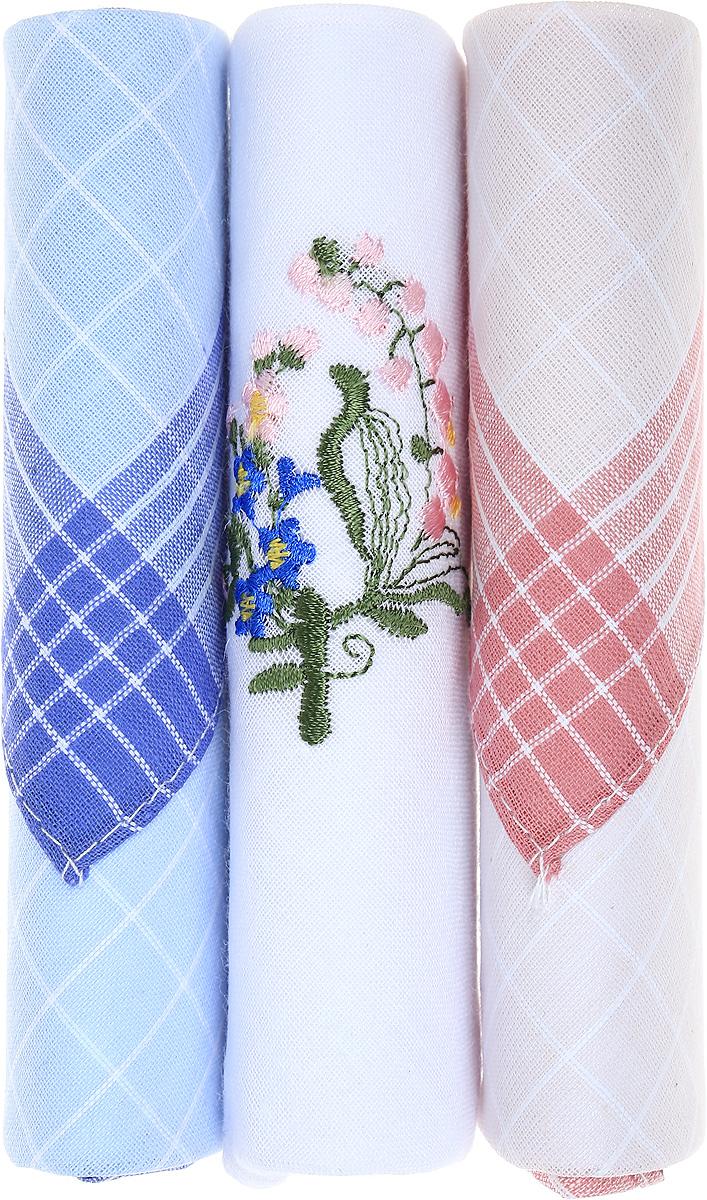 Платок носовой женский Zlata Korunka, цвет: голубой, белый, розовый, 3 шт. 40423-98. Размер 28 см х 28 см40423-98Небольшой женский носовой платок Zlata Korunka изготовлен из высококачественного натурального хлопка, благодаря чему приятен в использовании, хорошо стирается, не садится и отлично впитывает влагу. Практичный и изящный носовой платок будет незаменим в повседневной жизни любого современного человека. Такой платок послужит стильным аксессуаром и подчеркнет ваше превосходное чувство вкуса. В комплекте 3 платка.