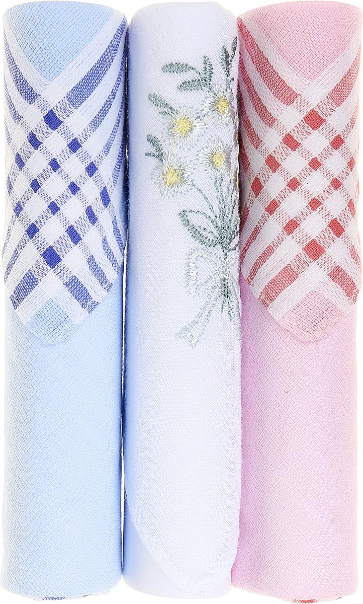 Платок носовой женский Zlata Korunka, цвет: голубой, белый, розовый, 3 шт. 40423-120. Размер 28 см х 28 смСерьги с подвескамиНебольшой женский носовой платок Zlata Korunka изготовлен из высококачественного натурального хлопка, благодаря чему приятен в использовании, хорошо стирается, не садится и отлично впитывает влагу. Практичный и изящный носовой платок будет незаменим в повседневной жизни любого современного человека. Такой платок послужит стильным аксессуаром и подчеркнет ваше превосходное чувство вкуса.В комплекте 3 платка.