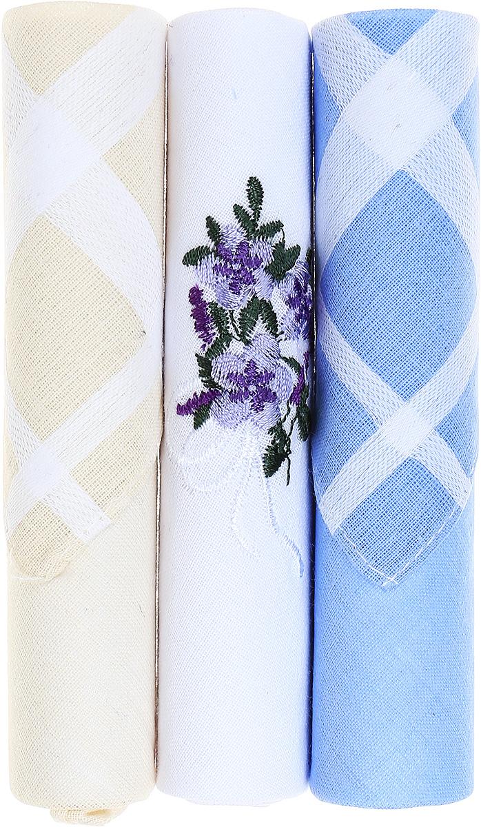 Платок носовой женский Zlata Korunka, цвет: бежевый, белый, голубой, 3 шт. 40423-31. Размер 28 см х 28 смСерьги с подвескамиНебольшой женский носовой платок Zlata Korunka изготовлен из высококачественного натурального хлопка, благодаря чему приятен в использовании, хорошо стирается, не садится и отлично впитывает влагу. Практичный и изящный носовой платок будет незаменим в повседневной жизни любого современного человека. Такой платок послужит стильным аксессуаром и подчеркнет ваше превосходное чувство вкуса.В комплекте 3 платка.