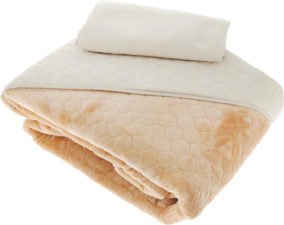 Комплект для спальни Sleep iX Multi Set: покрывало 220 х 240 см, простыня 230 х 240 см, 2 наволочки 50 х 70 см, цвет: бежевый, светло-рыжийpva221576Комплект для спальни Sleep iX Multi Set состоит из покрывала, простыни и 2 наволочек. Верх многофункционального одеяла-покрывала выполнен из мягкой высокотехнологичной ткани, которая хорошо сохраняет тепло, устойчива к стирке и износу, а низ выполнен из нежного искусственного меха. Такой мех не требует специального ухода, он легко чистится и долгое время сохраняет мягкость и внешний вид. Наволочки и простыня выполнены из микрофибры. Комплект для спальни Sleep iX Multi Set - отличный способ придать спальне уют и привнести в интерьер что-то новое. Размер покрывала: 220 х 240 см. Размер наволочки: 50 х 70 см. Размер простыни: 230 х 240 см. Комплект упакован в сумку-чехол на застежке-молнии.