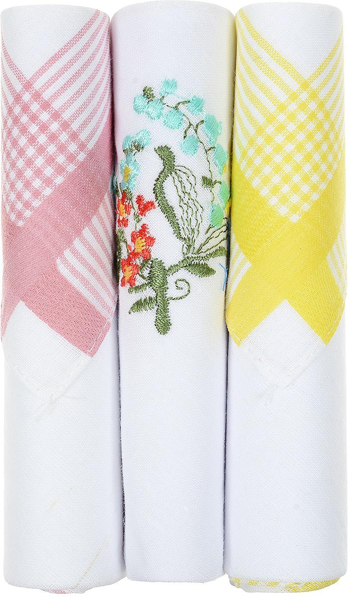 Платок носовой женский Zlata Korunka, цвет: розовый, белый, желтый, 3 шт. 40423-79. Размер 28 см х 28 смСерьги с подвескамиНебольшой женский носовой платок Zlata Korunka изготовлен из высококачественного натурального хлопка, благодаря чему приятен в использовании, хорошо стирается, не садится и отлично впитывает влагу. Практичный и изящный носовой платок будет незаменим в повседневной жизни любого современного человека. Такой платок послужит стильным аксессуаром и подчеркнет ваше превосходное чувство вкуса.В комплекте 3 платка.