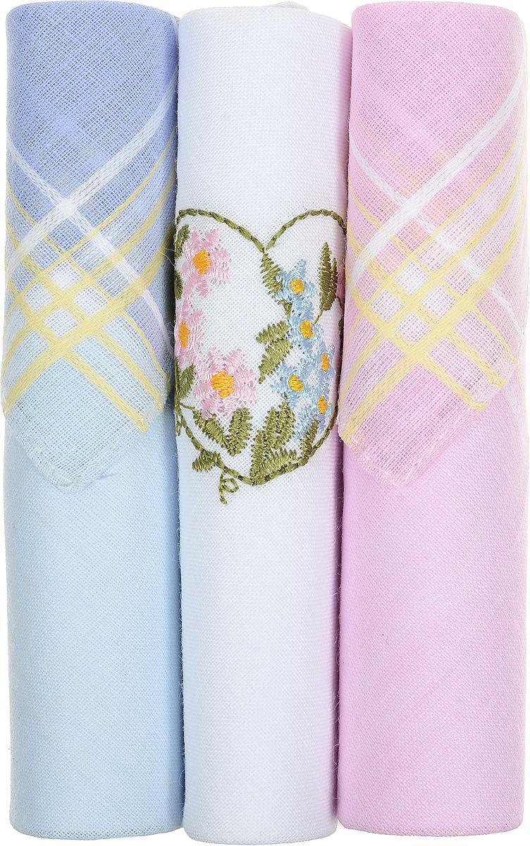 Платок носовой женский Zlata Korunka, цвет: голубой, белый, розовый, 3 шт. 40423-78. Размер 28 см х 28 см39864|Серьги с подвескамиНебольшой женский носовой платок Zlata Korunka изготовлен из высококачественного натурального хлопка, благодаря чему приятен в использовании, хорошо стирается, не садится и отлично впитывает влагу. Практичный и изящный носовой платок будет незаменим в повседневной жизни любого современного человека. Такой платок послужит стильным аксессуаром и подчеркнет ваше превосходное чувство вкуса.В комплекте 3 платка.