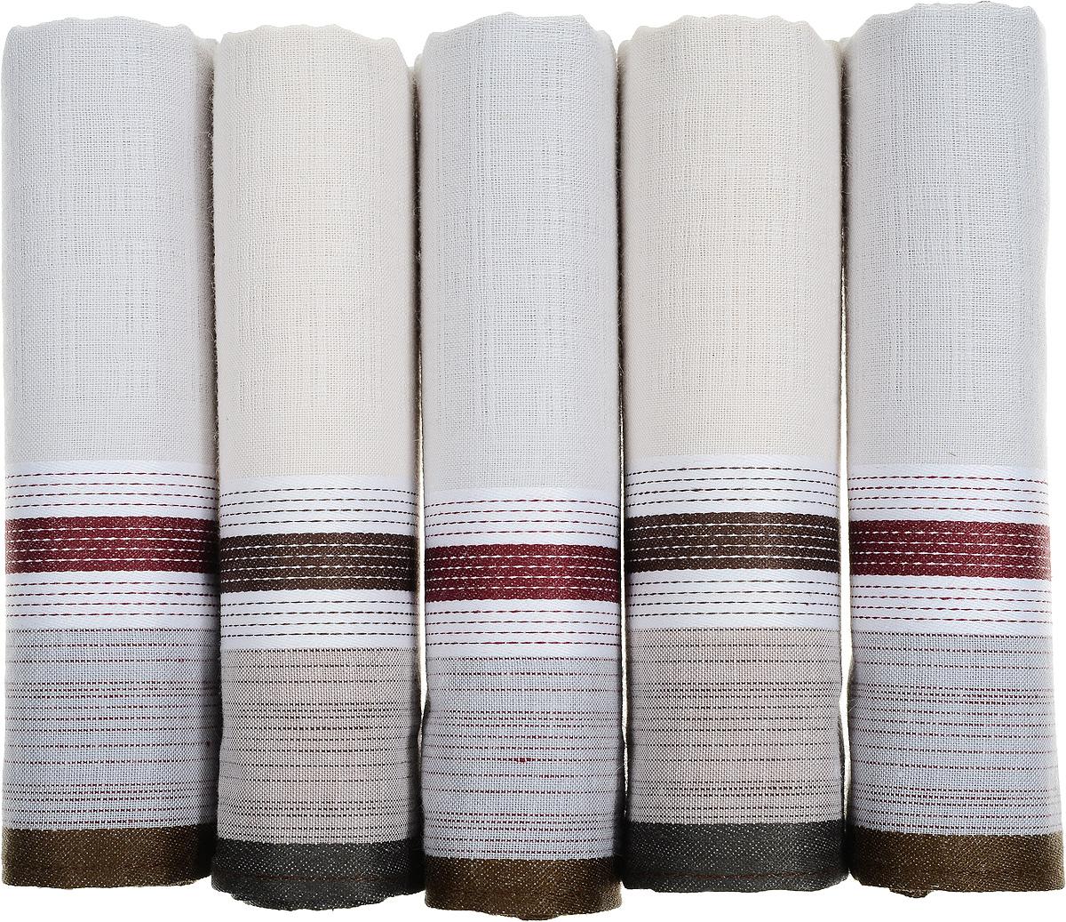 Платок носовой мужской Zlata Korunka, цвет: молочный, коричневый, 5 шт. 90512-11. Размер 43 см х 43 см90512-11Оригинальный мужской носовой платок Zlata Korunka изготовлен из высококачественного натурального хлопка, благодаря чему приятен в использовании, хорошо стирается, не садится и отлично впитывает влагу. Практичный и изящный носовой платок будет незаменим в повседневной жизни любого современного человека. Такой платок послужит стильным аксессуаром и подчеркнет ваше превосходное чувство вкуса. В комплекте 5 платков.