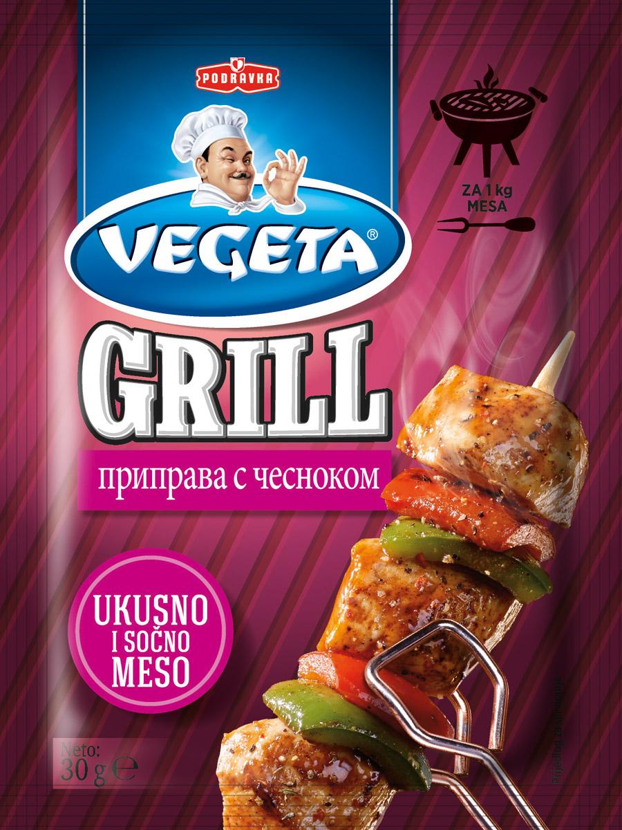 Vegeta Grill приправа с чесноком, 30 г0120710Гармония вкуса благодаря изысканной комбинации отборных специй и сушеных овощей придаст вашему блюду дух исключительности. А если к этой приправе добавить еще петрушку и сельдерей, можете быть уверены, что с таким маринадом готовят что-то действительно интересное. Только настоящий, естественный вкус. Сочное, вкусное мясо и рыба, пропитанные ароматом чеснока.