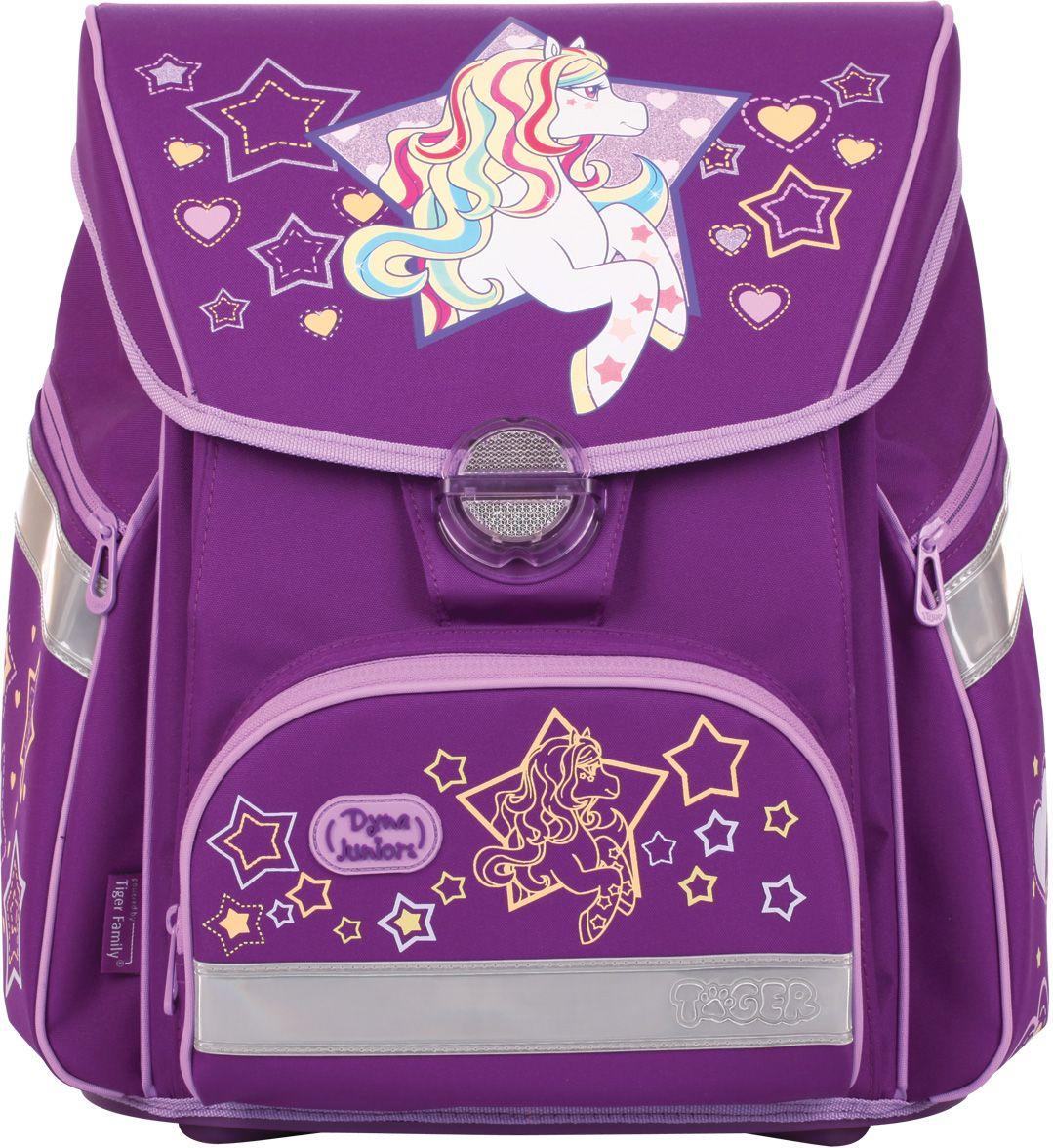 Tiger Family Ранец школьный Rainbow Pony1709/B/TGРанец школьный Dyna Juniors Rainbow Pony, размер 38 x 34 x 23 см, атомическая спинка регулируется при помощи застежки-липучки, фиолетовый, для девочек Ранец выполнен из влагоустойчивой ткани. Замок легко открывать и закрывать. Имеется регулируемый нагрудный ремень, светоотражающие элементы на всех 4 сторонах. Усиленное дно, удобные регулируемые лямки, два боковых кармана на молниях, карман на молнии на лицевой части ранца. Внутри имеется большое отделение для книг, внутренний карман