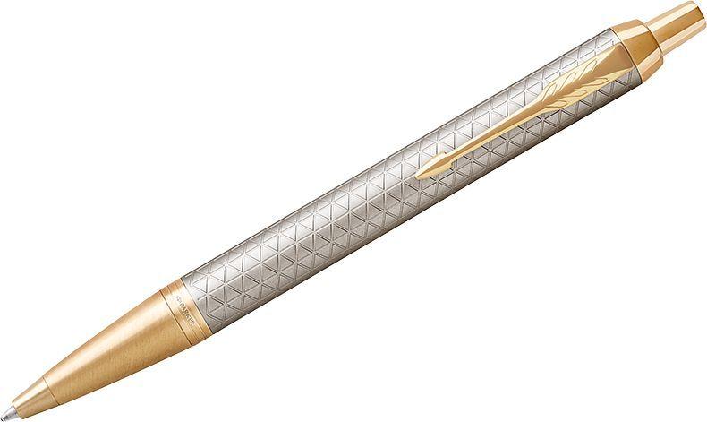 Parker Ручка шариковая IM Premium Warm Silver GT синяя1931687Шариковая ручка в корпусе из чернового матового анодированного алюминия, прошедшего пескоструйную обработку, с фирменным гравированным рисунком. Позолоченная отделка деталей с полировкой