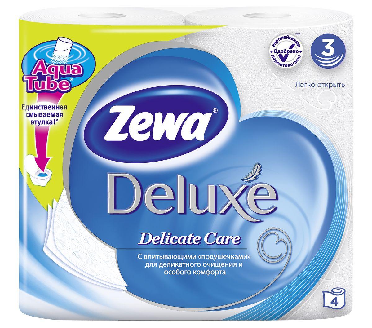 Туалетная бумага Zewa Deluxe Белая, 3 слоя, 4 рулона3228Подарите себе удовольствие от ежедневного ухода за собой. Zewa Deluxe с новыми впитывающими подушечками деликатно очищает и нежно заботится о вашей коже. Мягкость, Забота, Комфорт – вашей коже это понравится! Сенсация! Со смываемой втулкой Aqua Tube! Белая 3-х слойная туалетная бумага без аромата 4 рулона в упаковке Состав: целлюлоза Производство: Россия