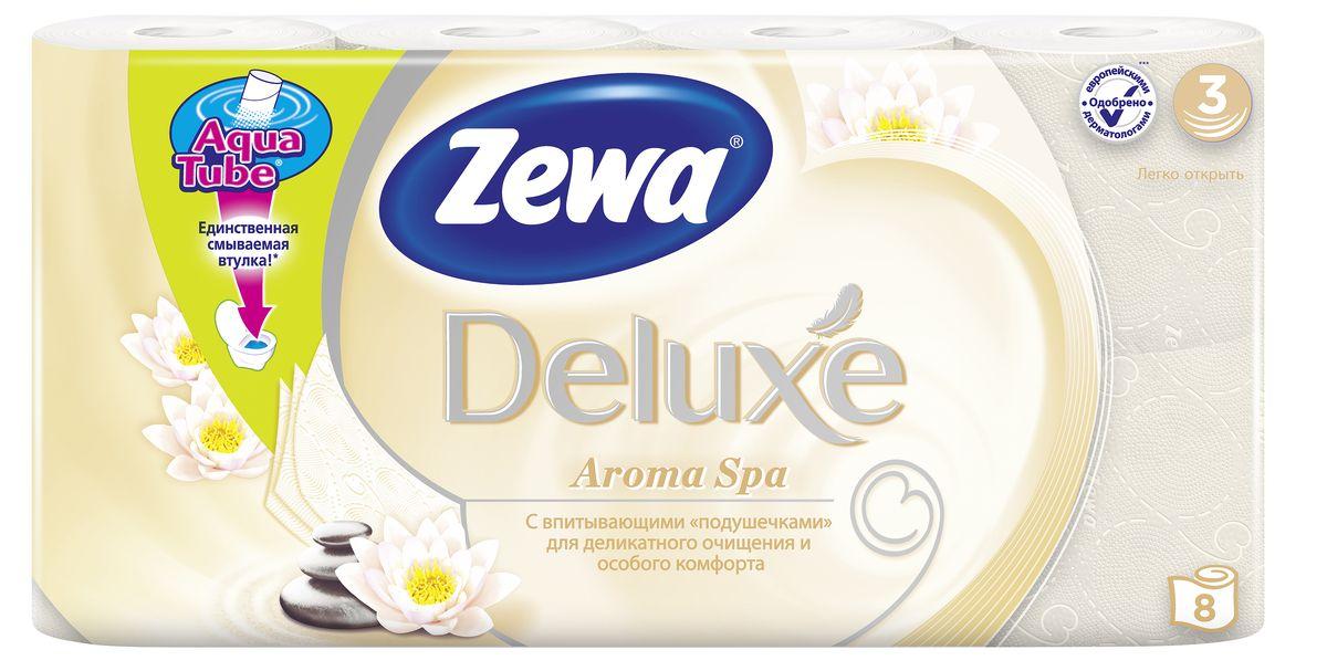 Туалетная бумага Zewa Deluxe АромаСпа, 3 слоя, 8 рулонов02.03.05.5367Подарите себе удовольствие от ежедневного ухода за собой. Zewa Deluxe с новыми впитывающими подушечками деликатно очищает и нежно заботится о вашей коже. Мягкость, Забота, Комфорт – вашей коже это понравится! Сенсация! Со смываемой втулкой Aqua Tube! 3-х слойная туалетная бумага цвета шампань с тонким ароматом ароматического масла 8 рулонов в упаковке Состав: вторичное волокно Производство: Россия