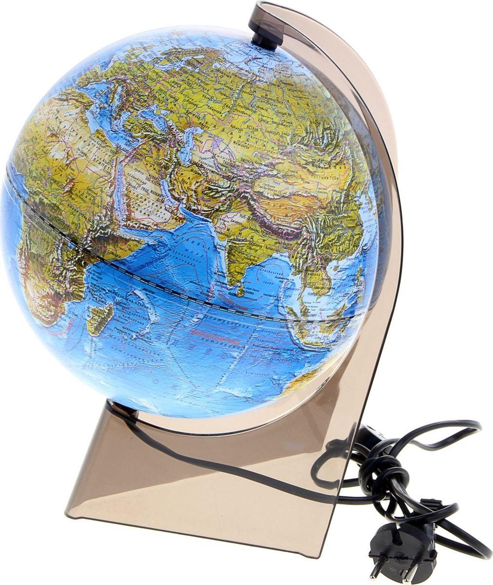 Глобусный мир Глобус ландшафтный с подсветкой диаметр 21 см1077867Глобус для всех, глобус каждому! Глобус — самый простой способ привить ребенку любовь к географии. Он является отличным наглядным примером, который способен в игровой доступной и понятной форме объяснить понятия о планете Земля. Также интерес к глобусам проявляют не только детки, но и взрослые. Для многих уменьшенная копия планеты заменяет атлас мира из-за своей доступности и универсальности. Умный подарок! Кому принято дарить глобусы? Всем! Глобус ландшафтный диаметр 210 мм, на треугольной подставке, с подсветкой — это уменьшенная копия земного шара, в которой каждый найдет для себя что-то свое. путешественники и заядлые туристы смогут отмечать с помощью стикеров те места, в которых побывали или собираются их посетить деловые и успешные люди оценят такой подарок по достоинству, потому что глобус ассоциируется со статусом и властью преподаватели, ученые, студенты или просто неординарные личности также найдут для глобуса достойное место в своем доме. ...